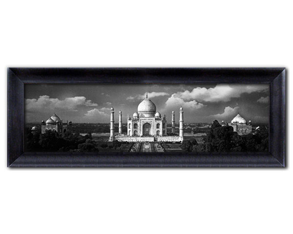 faux canvas frame panoramic view of the world famous taj mahal on a cloudy day jumbo frame overall size 38 x 13 inches