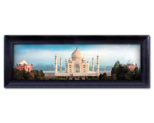 large frame framed faux canvas print full color contemporary panoramic view of taj mahal