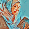Image result for muslim  woman coran art